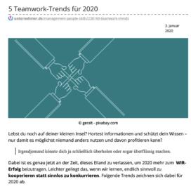 5 Teamwork Trends für 2020 - Unternemer_de 01_20 von Ulrike Stahl Keynote Speaker, Rednerin fuer Kooperation und erfolgreiche agile Zusammenarbeit