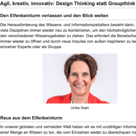 Agil, Kreativ, Innovativ: Design Thinking statt Groupthink_careerslounge.com 11_2019 von Ulrike Stahl Workshops, die das WIR-Gefühl im Team entfalten