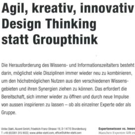 Agil, kreativ, innovativ: Design Thinking statt Groupthink_MB-Revue 10_2019 von Ulrike Stahl Organisationsentwicklung für agile Teams und Unternehmen