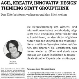 Agil kreativ innovativ Design Thinking statt Groupthink_it Service Management 12_2020 von Ulrike Stahl Teamentwicklung für virtuelle und globale Teams