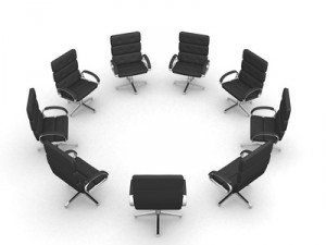 Eight office chairs in circle on white background