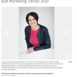 B2B Marketingtrends - Marconomy 01_20 von Ulrike Stahl Keynote Speaker, Rednerin fuer Kooperation und erfolgreiche agile Zusammenarbeit