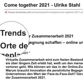 Come together 2021 veröffentlicht auf frauen-business.at 11_2020 von Ulrike Stahl Workshops, die das WIR-Gefühl im Team entfalten