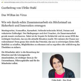 Das WIRus im Virus auf careerslounge 05_20 von Ulrike Stahl Vortragsrednerin fuer Kooperation und erfolgreiche Zusammenarbeit