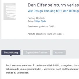 Den Elfenbeinturm verlassen Wie Deign Thinking hilft, den Blick gemeinsam zu weiten 2018 Expertin fuer kooperative Zusammenarbeit Ulrike Stahl