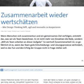 Design Thinking hilft agil und innovativ zu kooperieren eStrategy Magazin 12 2018 Expertin fuer das neue WIR Ulrike Stahl
