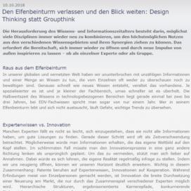 Die Elfenbeinturm velassen und den Blick weiten Design Thinking statt Groupthinking 2018 Expertin fuer kooperative Zusammenarbeit Ulrike Stahl
