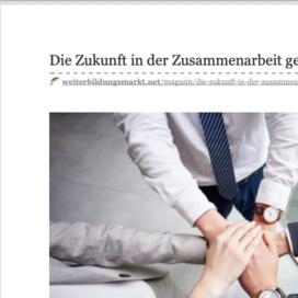 Die Zukunft in der Zusammenarbeit gehört der Kooperation in Weiterbildungsmarkt 06_20 von Ulrike Stahl Rednerin fuer Kooperation und Zusammenarbeit