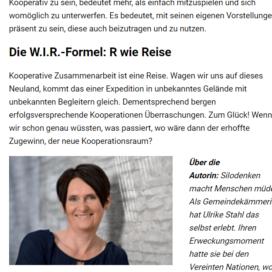 Erfolgsturbo WIR Kooperationen bergen mehr Erfolg als Alleingaenge 01 2018 Expertin fuer kooperative Zusammenarbeit Ulrike Stahl