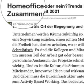 Homeoffice ja oder nein Trends in der Zusammenarbeit veröffentlicht auf karriere-now.de 11_2020 von Ulrike Stahl Teamworkshops für Hochleistungsteams