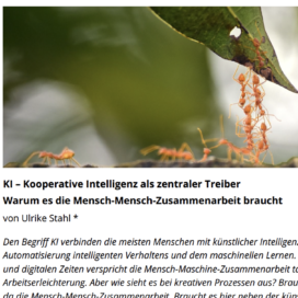 KI Kooperative Intelligenz als zentraler Treiber zukunftsmacher.de 02_20 von Ulrike Stahl Rednerin fuer erfolgreiche agile Zusammenarbeit