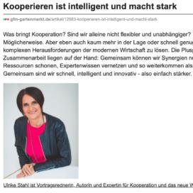 Kooperieren ist intelligent und macht stark_gfm-gartenmarkt.de 12_2019 von Ulrike Stahl Teamentwicklung für verteilte, virtuelle und internationale Teams
