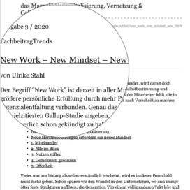 New Work New Mindset New Life auf Wissensmanagement 03_20 von Ulrike Stahl Vortragsrednerin fuer Kooperation und erfolgreiche Zusammenarbeit