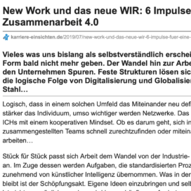 New Work und das neue WIR 6 Impulse für eine agile Zusammenarbeit 4.0_karriere-einsichten.de 07_2019 von Ulrike Stahl Organisationsentwicklung für agile Teams und Unternehmen