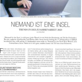 Niemand ist eine Insel - KMU Rundschau 01_20 von Ulrike Stahl Keynote Speaker, Rednerin fuer Kooperation und erfolgreiche agile Zusammenarbeit