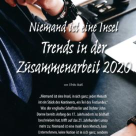 Niemand ist eine Insel Trends Zusammenarbeit - Deutsche Getränkewirtschaft 02_20 von Ulrike Stahl Keynote Speaker, Rednerin fuer Kooperation und erfolgreiche agile Zusammenarbeit