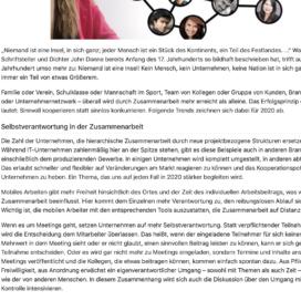 Niemand ist eine Insel Trends in der Zusammenarbeit 2020 - Unitedworker 01_20 von Ulrike Stahl Keynote Speaker, Rednerin fuer Kooperation und erfolgreiche agile Zusammenarbeit