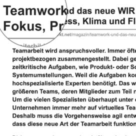 Teamwork und das neue WIR: Die Bedeutung von Fokus, Prozess, Klima und Flow_weiterbildungsmarkt.net 09_2019 von Ulrike Stahl Teamworkshops für Hochleistungsteams