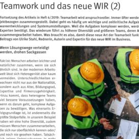 Teamwork und das neue WIR_Steine+Erden 10_2019 von Ulrike Stahl Teamworkshops live und online für globale und internationale Teams