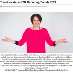 Trenddossier B2B Marketing Trends 2021 veroeffentlicht auf marconomy.de 01_2021 von Ulrike Stahl Organisationsentwicklung fuer agile Teams und Unternehmen