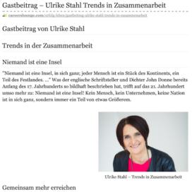 Trends in Zusammenarbeit auf Careerslounge 03_20 von Ulrike Stahl Rednerin fuer produktive Zusammenarbeit