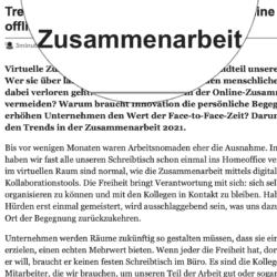 Trends in der Zusammenarbeit 2021 online und offline veröffentlicht auf 3minutencoach.com 02_2021 von Ulrike Stahl Teamworkshops für Hochleistungsteams