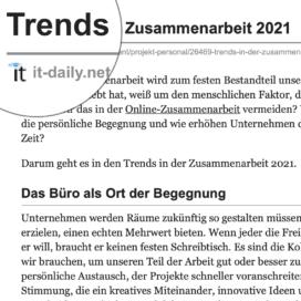 Trends in der Zusammenarbeit 2021 veroöffentlicht auf it-daily.net 12_2020 von Ulrike Stahl Teamworkshops live und online für globale und internationale Teams