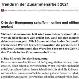 Trends in der Zusammenarbeit 2021 veröffentlicht auf portalderwirtschaft.de 12_2020 von Ulrike Stahl Teamworkshops live und online für globale und internationale Teams