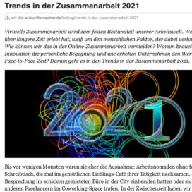 Trends in der Zusammenarbeit 2021 veröffentlicht auf wir die zukunftsmacher.de 11_2020 von Ulrike Stahl Organisationsentwicklung für agile Teams und Unternehmen