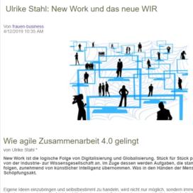 Ulrike Stahl New Work und das neue WIR Frauen Business Magazin frauen-buseiness.at 04 2019 Expertin fuer kooperative Zusammenarbeit Ulrike Stahl