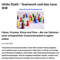Ulrike Stahl - Teamwork und das neue WIR Frauen Business Magazin 06_2019 Ulrike Stahl Expertin fuer agile Zusammenarbeit