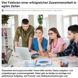 Vier Faktoren einer erfolgreichen Zusammenarbeit in agilen Zeiten_3minutencoach.com 10_2019 von Ulrike Stahl Teamentwicklung für verteilte, virtuelle und internationale Teams
