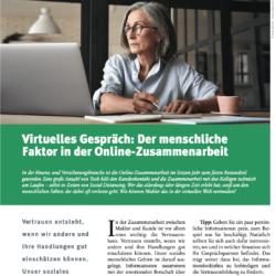 Virtuelles Gespräch Der menschliche Faktor in der Online Zusammenarbeit_ AssCompact 02_2021 von Ulrike Stahl Teamentwicklung für verteilte, virtuelle und internationale Teams