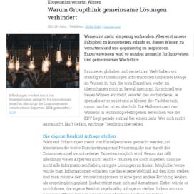 Warum Groupthink gemeinsame Loesungen verhindert marconomy.de 11 2018 Expertin fuer das neue WIR Ulrike Stahl