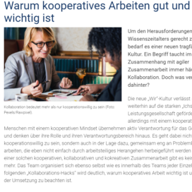 Warum kooperatives Arbeiten gut und wichtig ist personalwirtschaft.de 2019 Expertin fuer kooperative Zusammenarbeit Ulrike Stahl