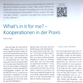 What is in it for me Kooperation in der Praxis Endodontie Journal 12 2018 Expertin fuer das neue WIR Ulrike Stahl
