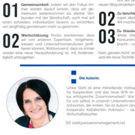 Wissenstransfer: Mit dem Wettbewerb kooperieren_wissensmanagement 12_2019 von Ulrike Stahl Teamentwicklung für verteilte, virtuelle und internationale Teams