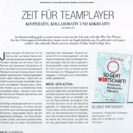 Zeit fuer Teamplayer kmuRundschau 04 2018 Expertin fuer das neue WIR Ulrike Stahl