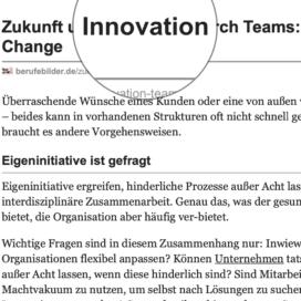 Zukunft und Innovation durch Teams Erfolg durch Change veröffentlicht auf berufebilder.de 12_2020 von Ulrike Stahl Organisationsentwicklung für agile Teams und Unternehmen